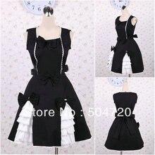 V-1222 Schwarz baumwolle Süße Schule Lolita Kleid/viktorianischen kleid Cocktailkleid/halloween-kostüm US6-26 XS-6XL