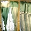 Весенние зеленые занавески в клетку с кружевной каймой  деревенская сетка  стиль принцессы  занавески для гостиной  спальни  вышивка  тюль  з...
