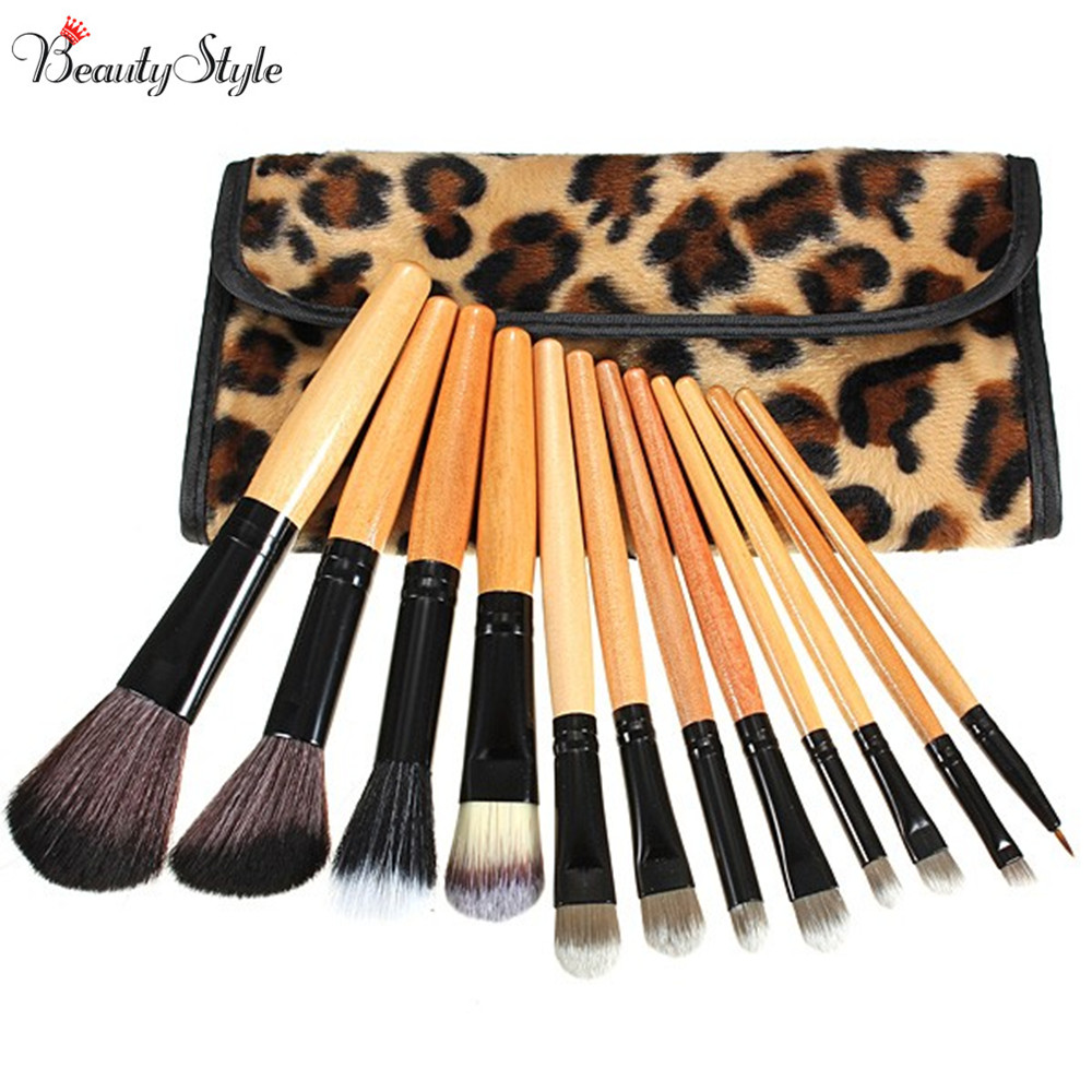 12Pcs Makeup Brushes Set Foundation Eyeshadow Lip Brush With Leopard Leather Bag Brushes Set Cosmetic Powder Blush Soft Mquiagem lcbox professional 40pcs cosmetic makeup brushes set blusher eyeshadow powder foundation eyebrow lip make up brush with bag