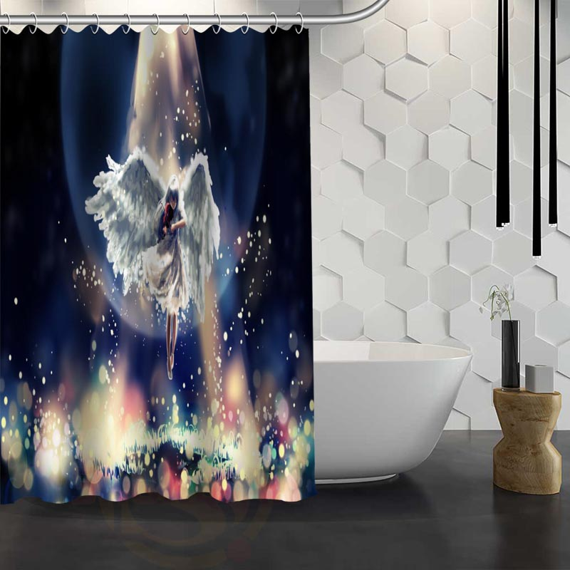 Mondern Classical Angel Shower Curtain Pattern Customized Bathroom Fabric For Decor Hsq326020t In Curtains From Home Garden