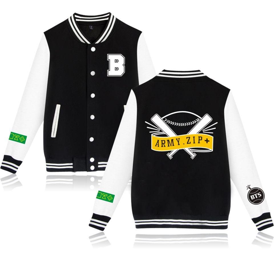 BTS A.R.M.Y ARMY ZIP+ Bangtan Boys Kpop BTS Baseball Jacket Plus Size bts Women Sweatshirt Clothing bts Uniform Clothes