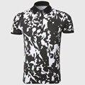 Fresco de caracteres de impresión de polo camisas de los hombres de algodón de manga corta polo camisa de hip hop de la novedad negro turn down collar ropa