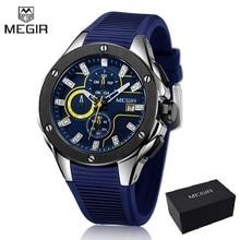 MEGIR Для мужчин спортивные часы хронограф силиконовый кварцевый ремешок армейские часы Для мужчин Топ люксовый бренд мужской Relogio Masculino