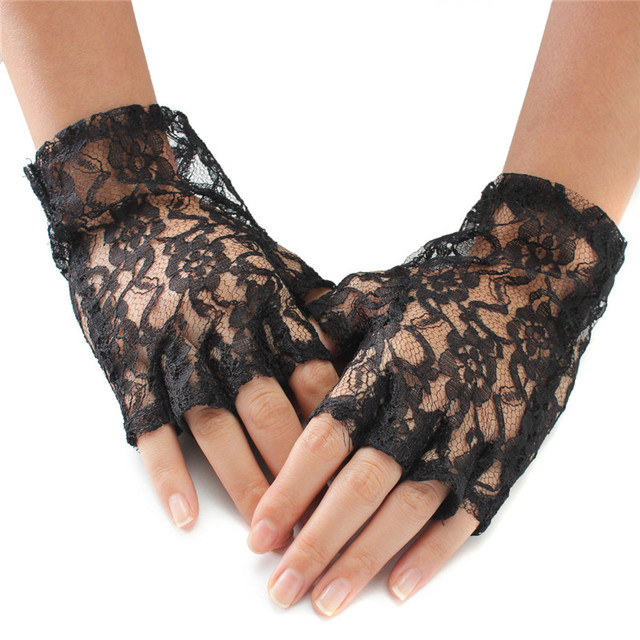 1Pair New Arrival Beautiful Design Half Fingerless Lace Gloves Gothic Style  Ladies Fancy Dress Accessories For Party Wedding 77e784412acb