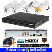 Бесплатная доставка Dahua 1080 P CVI Системы 4CH CVR 2.0MP запись CVI DVR комплект 4 шт 1080 P HAC HFW1200DP bullt система наблюдения ссtv