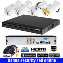 Free Shipping Dahua 1080P CVI System 4CH CVR 2.0MP Record CVI DVR Kit with 4Pcs 1080P HAC-HFW1200DP bullt Camera CCTV System
