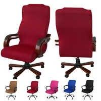 5 couleurs lisse Polyester chaise de bureau couverture élastique ordinateur salle à manger chaise couverture lavable amovible rotatif S/M/L 3 taille