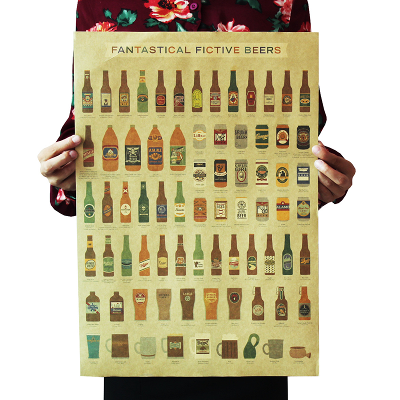 1PC 51.5x36cm Coffee Beer Wine Collection Bars Kitchen Drawings Posters Adornment, Vintage Poster Retro, Wall Stickers