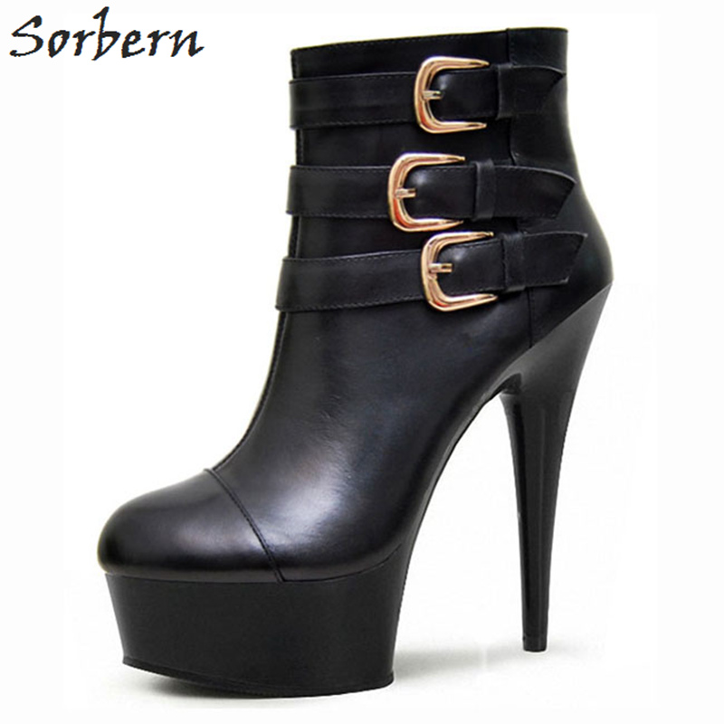 Sorbern Women Ankle Boots Buckle Strap High Heels 15/17/18/20cm Heels Black PU Boots Women Womens Boots Buckle Strap Boots женские ботинки dx32 d32 ankle boots