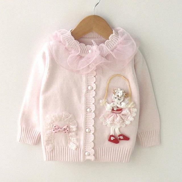 9 М до 2 Т новорожденных девочек мода кружева рябить воротник принцесса вязаный свитер пальто младенца девушка новая осень зима хлопок повседневная свитера