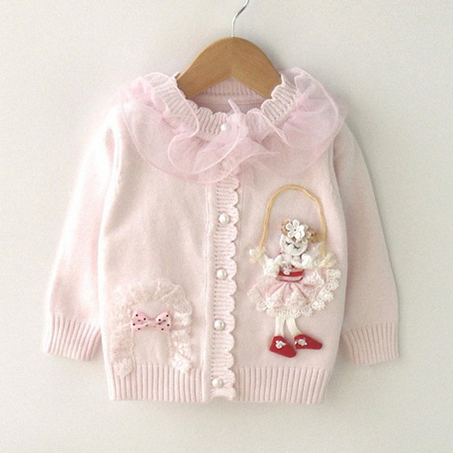 9M to 2T baby girls fashion lace ruffle collar princess knitted sweater coat infant girl new fall winter cotton casual sweaters