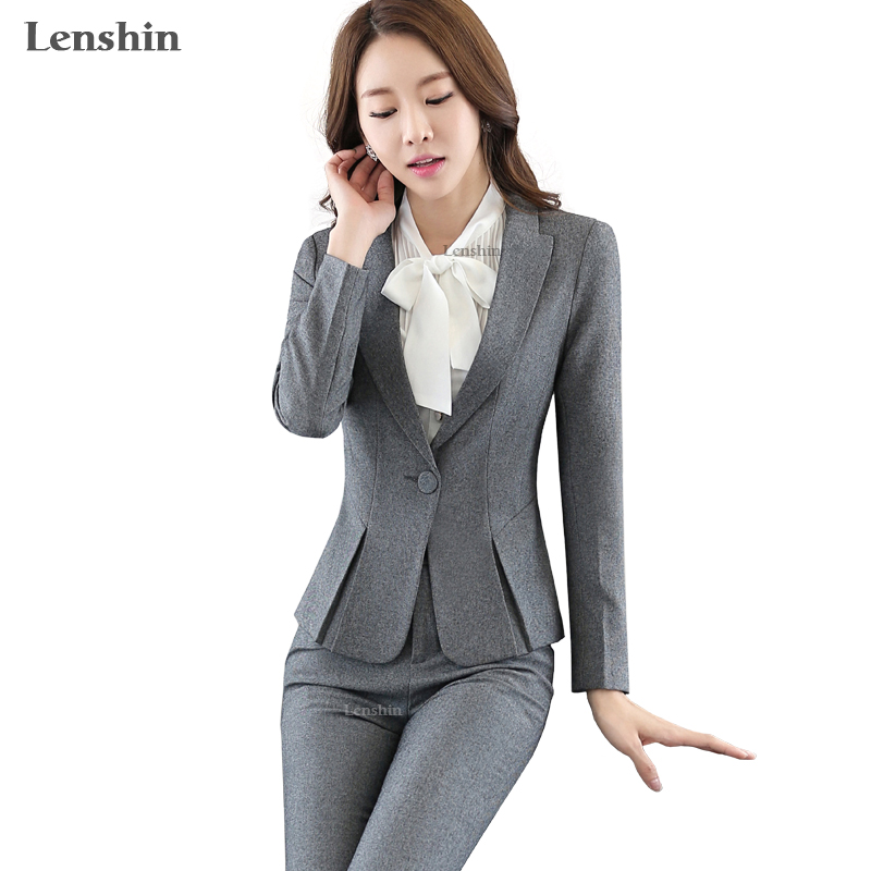 Lenshin 2 Pieces Set Women Business Suits Formal Office Lady Uniform Design Style Gray Pant Suit New Women Work Wear Blazer