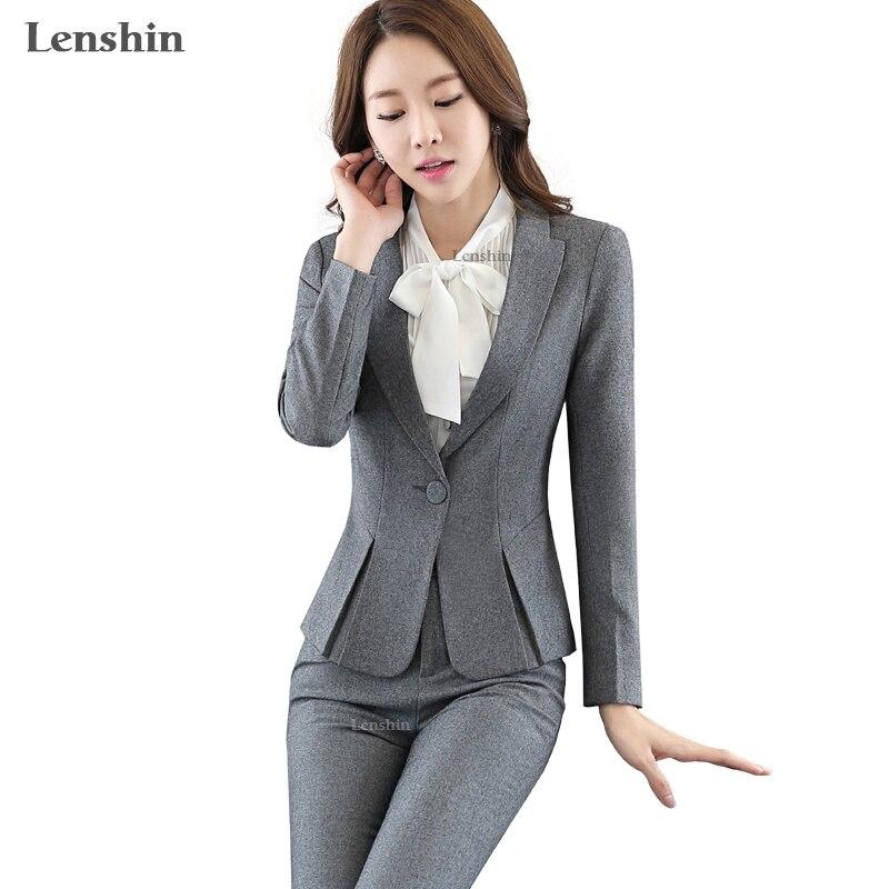 Lenshin 2 piezas conjunto mujer trajes de negocios Formal Oficina señora uniforme diseño estilo gris pantalón traje nuevas mujeres ropa de trabajo blazer-in Trajes de pantalón from Ropa de mujer    1