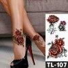 Water Transfer Deep pink henna lace rose flower Temporary Tattoo Sticker butterfly Pattern body art Waterproof Fake Flash Tattoo
