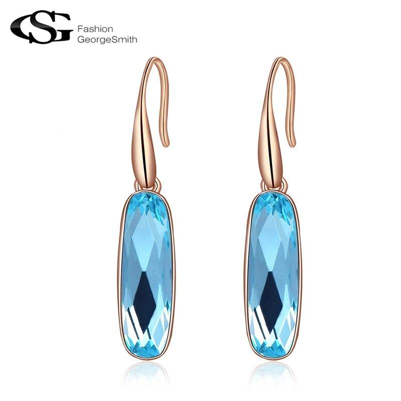 294adebe52ec GS joyería de moda azul cristal pendientes largos pendientes de gota para  las mujeres cuelgan los pendientes de gota femeninos G23