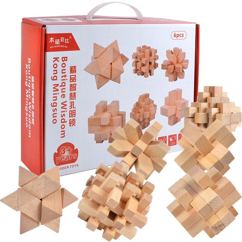 Blocs de construction en bois de serrure de jouet IQ développement du cerveau 3D Kong Ming verrouillage verrouillage de verrouillage des jouets éducatifs d'intelligence