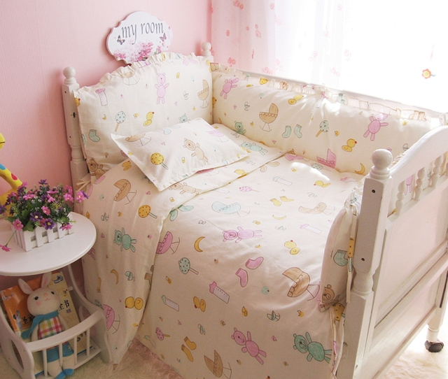 Colorful Little Bear  Baby Crib Bedding Set Sheet+Bumper+Pillow+Quilt Baby Bed Bumper Baby Cheap Price Bed Accessories