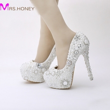 Snow White Pearl Wedding Shoes Rhinestone Crystal Dress Shoes Party Prom Platform High Heels Pageant Event Pumps Women Shoes