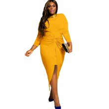 Ruched slit long sleeve dress plus size women clothing 2016 sexy clubwear big size dress xxxl xxl xl vestido de noiva A61249