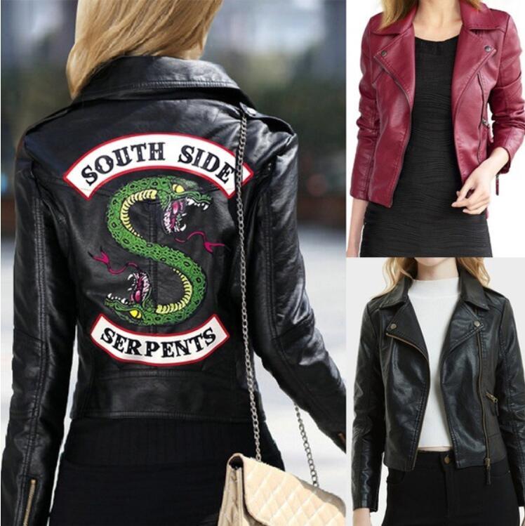 2019 Cosplay Costume Jacket South Side Serpents Riverdale PU Leather Jackets Costume Women Riverdale Streetwear Leather Outwear