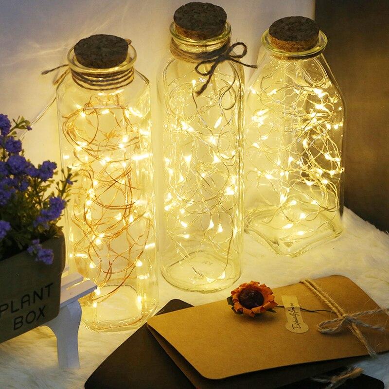 Design créatif micro guirlande LED fil de cuivre blanc chaud avec bouteille en verre pour la maison de mariage vacances bricolage décorations