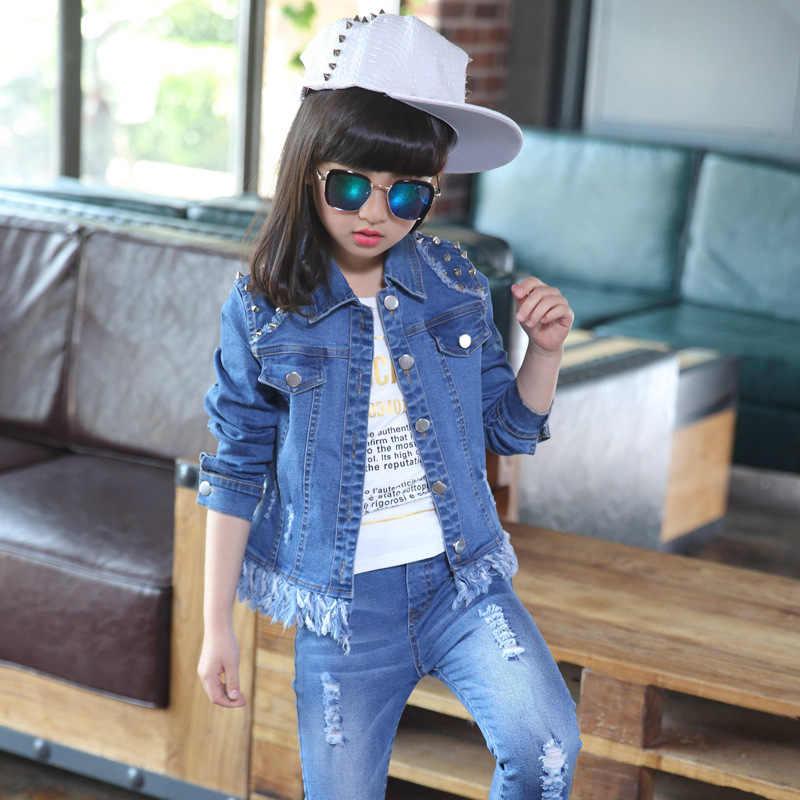 Çocuk giyim kız takım elbise bahar 2019 çocuk denim setleri ceket + kot pantolon çocuk rahat giyim ceket sonbahar katı giyim