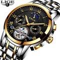Для мужчин s часы Лидирующий бренд LIGE Роскошные автоматические механические часы для мужчин полный сталь бизнес водонепроница...