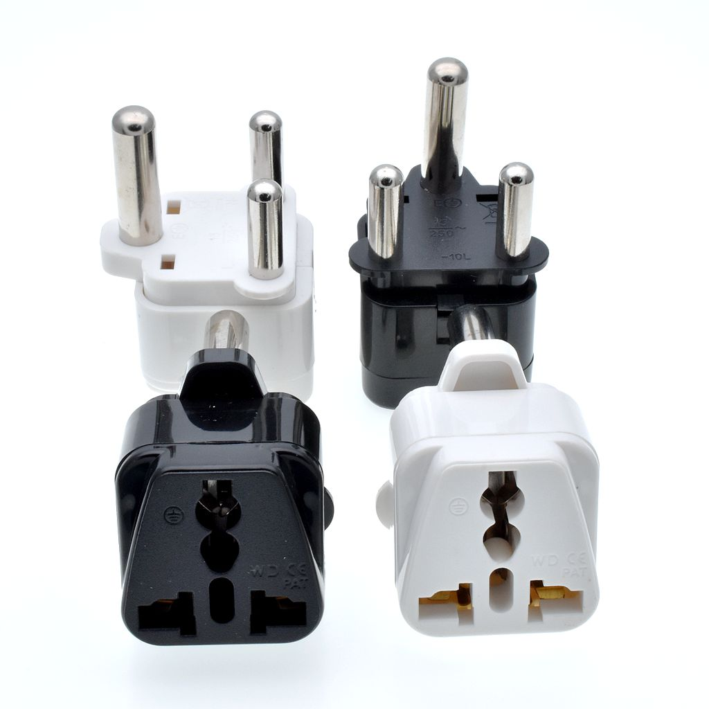 hight resolution of black white 250v 15a copper universal us to india israel malaysia singapore nepal power plug