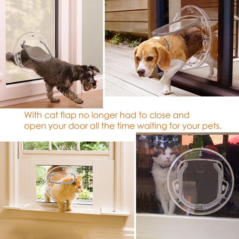 Household Dog Cat Gate Lockable Transparent Pet Dog Flap Door Round Shape Plastic Security Pet Entrance Puppy Hole Door Supplies in Dog Doors Ramps from Home Garden