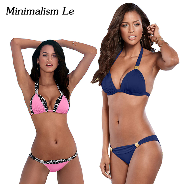 Minimalism Le Sexy Halter Top Bikini 2018 Women Swimwear Bathing Suits Push Up Swimsuit Bikini Set Maillot De Bain Biquini BK781