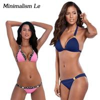Minimalism Le Sexy Halter Top Bikini 2017 Women Swimwear Bathing Suits Push Up Swimsuit Bikini Set