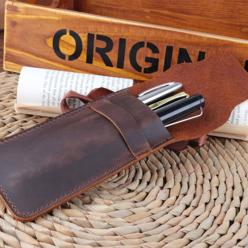 Leather Pen Holder Brown Fountain Pen Pouch Pencil Holder Handmade Ballpoint Pen Protective Cover For Office College University
