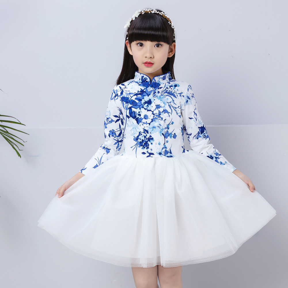 summer baby girl dress Cheongsam Autumn Cotton Chinese Style Long Sleeve Elegant Dresses Traditional Chinese Garments H144 2017 autumn chinese style girl dress cotton short sleeve chinese cheongsam for kids baby girls qipao girls clothes