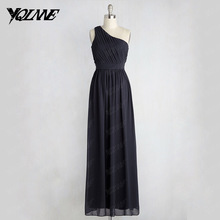 Simple Black One Shoulder Bridesmaid Dresses Long Wedding Party Gown Pleats Zipper Side Vestido De Festa