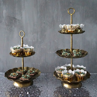 European Vintage Iron 2 & 3 Tier Fruits Cakes Desserts Plate Stand for Wedding Party Cakecups Gloden Color #1500220