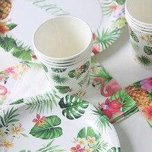 Aloha Фламинго оформление вечеринки чашки тарелки салфетки тропическая Вечеринка день рождения Лето Гавайские одноразовые столовые приборы