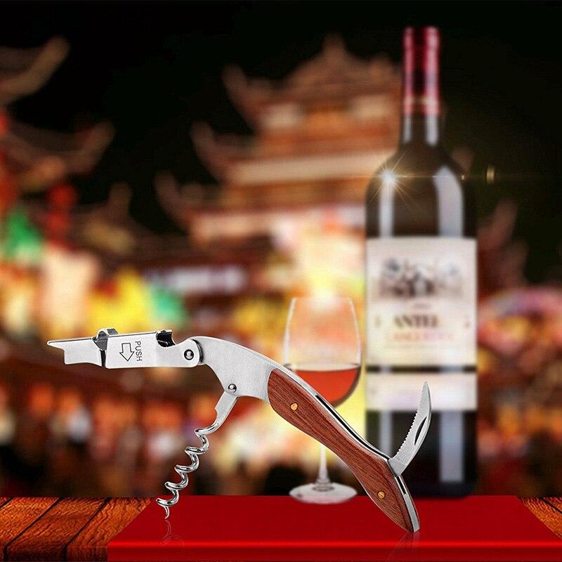 Multifunction Corkscrew Wine Bottle Opener Stainless Steel Rosewood Cutter LAD-sale