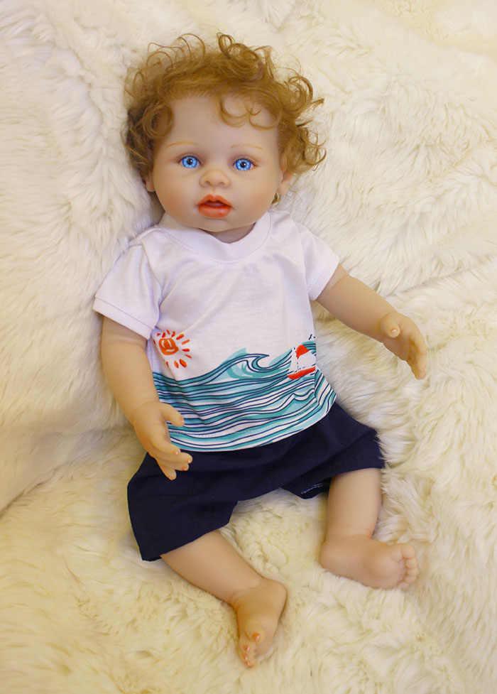 """Короткие волосы 20 """"Детская кукла с очаровательными голубыми глазами Кукла-мальчик полное тело силиконовый реалистичный винил ребенок Bonecas девочка ребенок Bebe Reborn"""