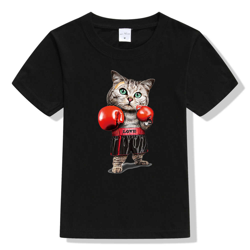 Children's Short-sleeved T-shirt Boxing Cat Cartoon Print Collar Top Casual Summer Clothing for Boys and Girls