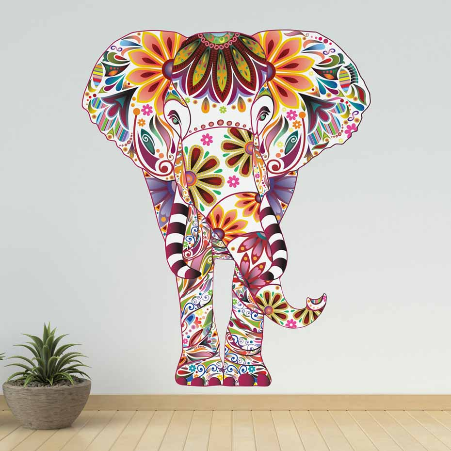 Flower Pattern Animal Elephant <font><b>Wall</b></font> <font><b>Sticker</b></font> Removable PVC <font><b>Retro</b></font> Decals Ethnic Unique Style Wallpaper For Living Room Home Decor image