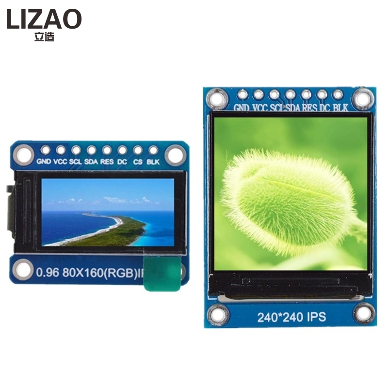 Lcd Module Wavgat Tft Display 0,96/1,3 Zoll Ips 7 P Spi Hd 65 K Volle Farbe Lcd Modul St7735/ St7789 Stick Ic 80*160 240*240 Optoelektronische Displays nicht Oled