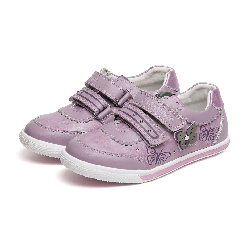 FLAMINGO Print Spring Genuine Leather Breathable Hook& Loop Outdoor Sneakers for Girl Size 27-32 Casual Shoes 81P-XY-0654 flamingo print spring genuine leather breathable hook