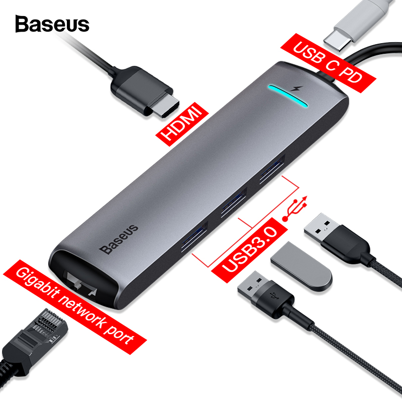 Moyeu de USB C Baseus Type C vers HDMI RJ45 Ethernet multi-ports USB 3.0 USB3.0 PD adaptateur d'alimentation pour MacBook Pro moyeu de USB-C de quai d'air HAB