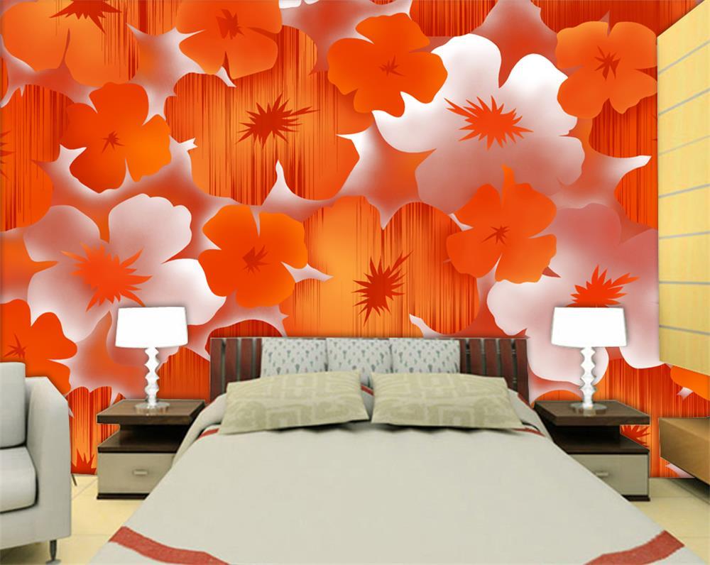 Popular orange flower wallpaper buy cheap orange flower for 3d wallpaper in room