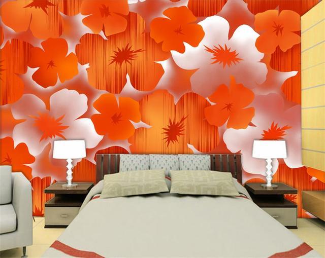 3d Room Wallpaper Custom HD Photo Mural Modern Elegant Orange Flower Background TV