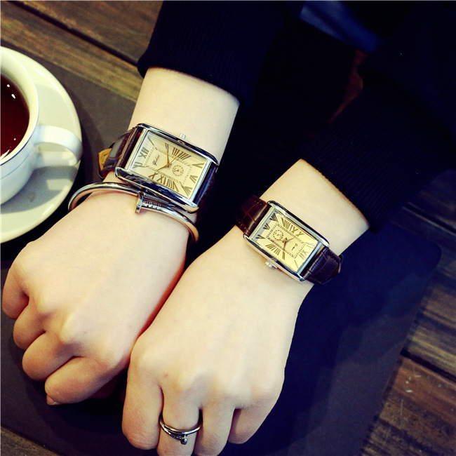 Fashion Mens Womens Retro Rectangle Style Watch Couple Small Dial Leather Strap Lovers Quartz Wrist Watches Genuine Horloges New