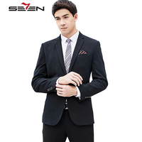Seven7 Mens Black Suits With Pants 2017 New Classic Wedding Business Slim Fit Prom Suit Men