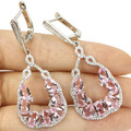 Long Pink Kunzite, White CZ Created SheCrown Woman's Wedding  Silver Earrings 50x22mm