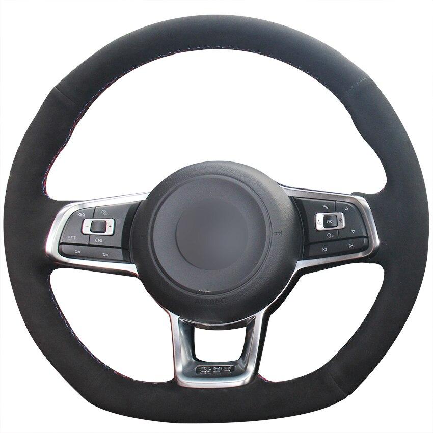 Xuji Black Suede Car Steering Wheel Cover For Volkswagen