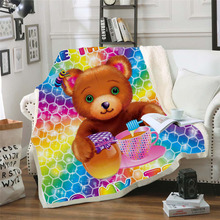 Plstar Cosmos Lisa and Frank Cartoon Blanket 3D print Sherpa on Bed Kids Girl Flower Home Textiles Dreamlike style-4